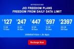 જીઓ દ્વારા દરરોજ ની ડેટા લિમિટ વિના નવા પ્લાન લોન્ચ કરવા માં આવ્યા જેની કિંમત રૂ. 127 થી શરૂ થાય છે