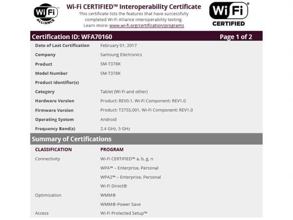 સેમસંગ ગેલેક્સિ ટેબ ઈ 8.0(2017) એ Wi-Fi એલાયન્સ દ્વારા માન્ય કરવા માં