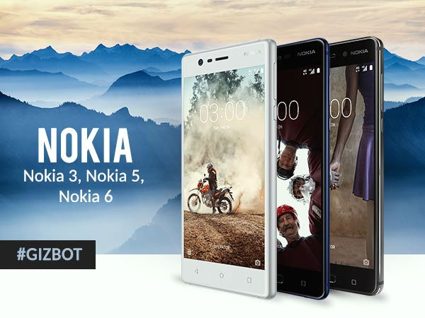 નોકિયા 6, નોકિયા 5, નોકિયા 3 ભારતમાં લોન્ચ, કિંમત 9499 થી શરૂ