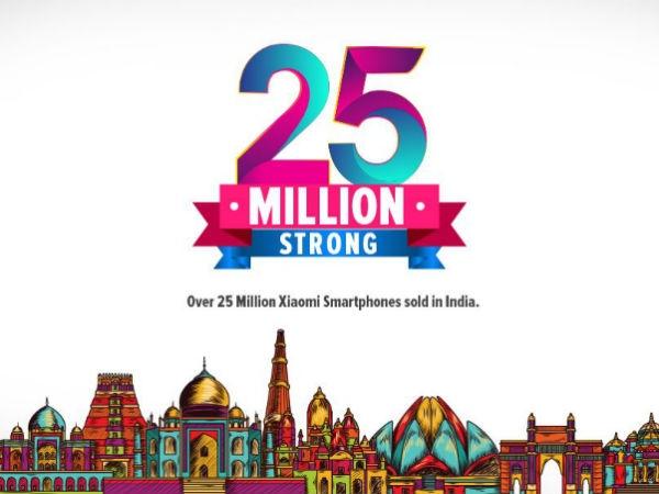 શાઓમી એ ભારત માં 3 વર્ષ માં 25 મિલિયન ફોન વહેંચ્યા