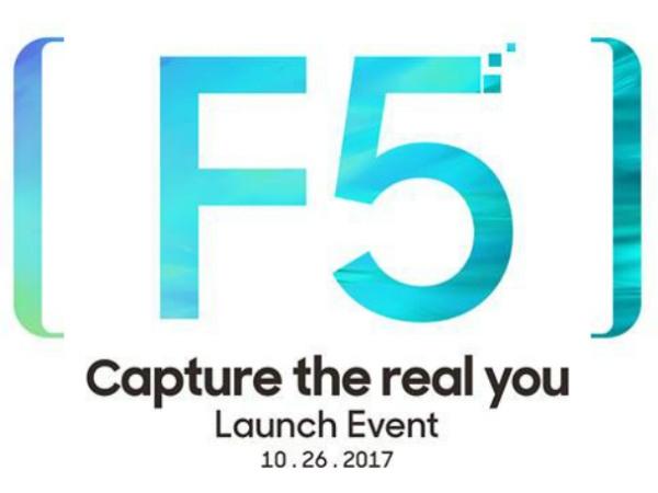 ઓક્ટોબર 26 ના રોજ ડ્યુઅલ સેલ્ફી કેમેરા સાથે ઓપ્પો એફ 5 લોન્ચ થશે