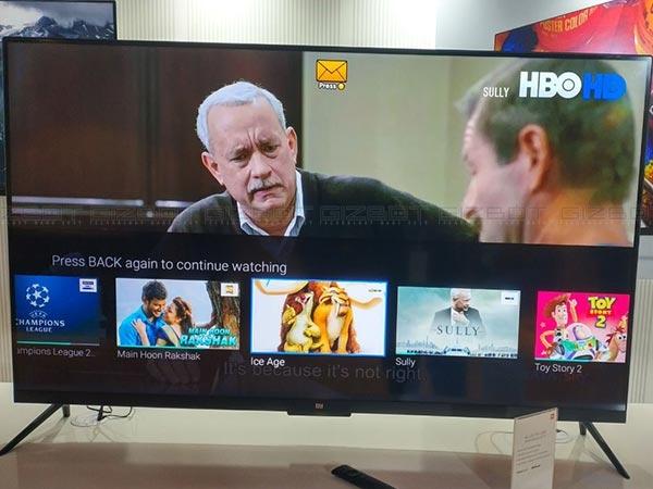 4 ઇ ફ્રેમલેસ ડિસ્પ્લે સાથે શાઓમી મી ટીવી 4 55-ઇંચનું મોડેલ, પેચવોલ સૉફ્ટવેર, રૂ. 39,999