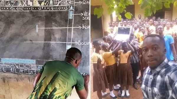 તેમણે વિદ્યાર્થીઓને બ્લેકબોર્ડ પર માઇક્રોસોફ્ટ વર્ડ શીખવ્યું