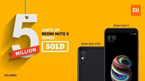ઝિયામી ઇન્ડિયાએ માત્ર 4 મહિનામાં 5 મિલિયન રેડમી નોટ 5 સ્માર્ટફોન વેચ્ય