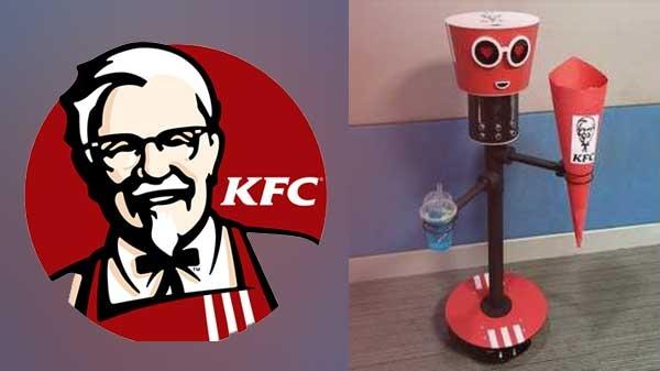 આ કેએફસી રોબોટ ચિકન બકેટ અને ડ્રિન્ક સાથે લઇ અને તમારી સાથે ચાલશે