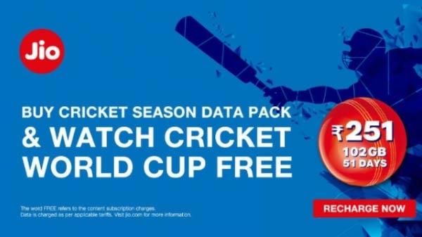 રિલાયન્સ જીઓ અનલિમિટેડ ક્રિકેટ સીઝન ડેટા પેક ઓફર કરી રહ્યું છે