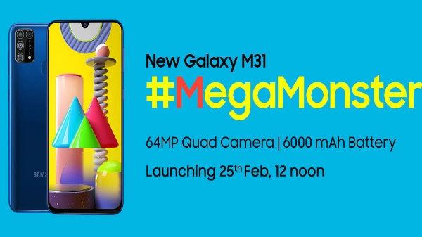 સેમસંગ ગેલેક્સી એમ31 64એમપી ક્વાડ કેમેરા સાથે 25મી ફેબ્રુઆરી ના રોજ લોન્ચ થશે